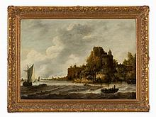 Jan van Goyen (1596-1656), Follower, Town by the Water, 17th C.