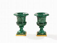 Large Pair of Russian Malachite Campana Shaped Vases, 19th C.