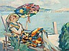 Edward Cucuel, Oil Painting, 'Lady in a Deck Chair', 1929