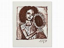 Otto Dix, Lithograph, 'Mädchen mit Sonnenblume', 1958