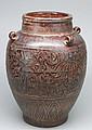 Unusual Chinese Antique Porcelain Monochromatic Relief Jar