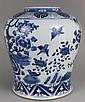 Antique Chinese Porcelain Blue White Jar Flying Birds