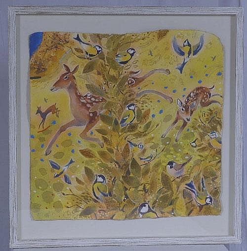 Water colour on hand made paper of Fawns by Andrew