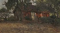 Esther Kjerner 1873-1952. Landskap med röd stuga.