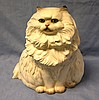 Hand painted ceramic seated cat floor display piece