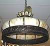 Large vintage slag glass chandelier