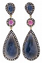 Rubies and sapphires long earrings