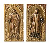 Spanish school of the 17th Century Saints Pair of high reliefs in carved, gilded and polychrome wood 88x43.5x4 cm