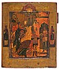 Russian school of the 19th Century Martyrdom of Saint John the Baptist Icon painted in tempera on wood Slight flaws 31.5x27 cm