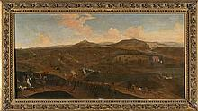 17th Century Flemish school. Follower of Adam Frans Van der Meulen Battle Oil on canvas