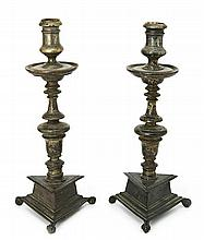 Pair of Italian candlesticks, second half of the 16th-first half of the 17th Century