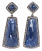Sapphires and diamonds long earrings., Silver, fantasy cut sapphires, 7 cts and 8/8 cut diamonds, 0,52 cts. 6 cm. 21 gr