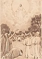 Joan Llimona Bruguera, Barcelona 1860-1926 , Scene from the New Testament, Charcoal drawing on paper, Signed , 97x69 cm