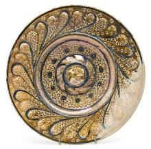 Plate in Manises metallic lustreware, early 16th Century