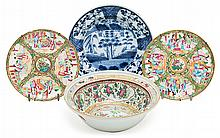 A pair of Canton dishes and a bowl and a European Chinese-like dish, from the late 19th Century