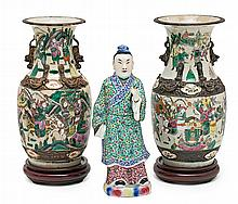Pair of Chinese vases from Nanking and Chinese figure, late 19th and mid 20th Centuries