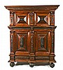 German Baroque-style wardrobe in rosewood and carved and ebonized wood, 19th Century  231x184x69 cm