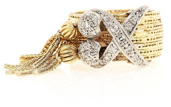 Sortija en oro y diamantes, hacia 1960