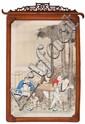 Escuela china de finales del siglo XIX Escena de toilette y dama con músicos ciegos Pareja de pinturas al gouche sobre seda enmarca...