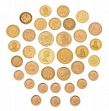 A set of forty-five international coins and medals in gold