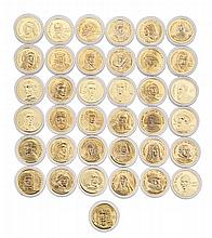 Thirty-seven gold medals of painters and historical figures