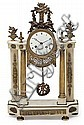 A gold-plated bronze and white marble Louis XVI style Napoleon III Franch clock. Second half of the 19th century. Paris machinery. 52X3