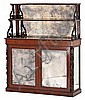 A Victorian sideboard. Mahogany. Mid 19th century. Decorated with openworked carving and large bead turnings. Mirror inupper part and l