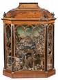 Vitrina fernandina en nogal y madera ebonizada, hacia 1830 con belén con figuras en terracota y elementos de corcho
