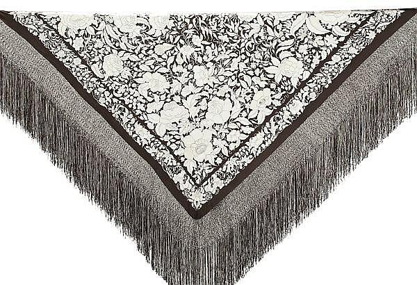 Dos mantones de Manila en seda negra bordada, del primer tercio del siglo XX