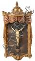Escuela francesa de finales del siglo XVIII-principios del siglo XX Cristo crucificado Escultura en marfil con hornacina en madera...