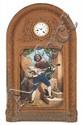 Reloj de pared musical francés con músico napolitano autómata, de mediados del siglo XIX