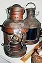 Two old copper ship's lanterns, one missing glass,