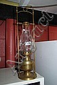 Vintage brass cased kerosene lamp with glass flue