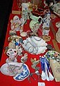 Various porcelain figurines, vases, spoons, coffee