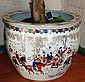 Large Chinese plant pot with design of various