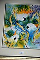 Howard Mitchell watercolour of cockatoos, signed