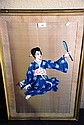 Unsigned vintage Japanese hand maiden painted on