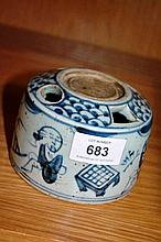 Blue & white glazed pottery stand, with details