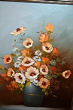 Artist unknown, still life of flowers, oil on