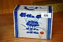 Chinese blue & white glazed pottery pillow, floral