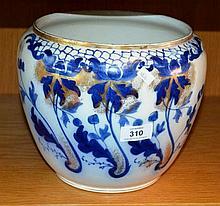 Antique English blue & white jardiniere 'Harrow',