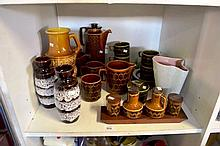 Shelf: pottery to incl. 2 West German vases & a