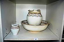 English pottery wash jug, bowl & toothbrush vase,