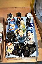 Box: novelty pottery decanters - clown form etc