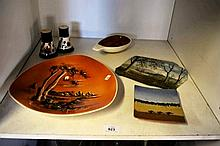 Shelf: pottery - incl. S&P; shakers, oil painting,