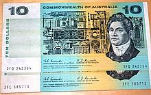 2 x Australian $10 paper notes Coombs/Randall, EF+