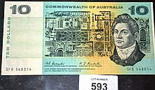 Coombs/Randall $10 note, aunc