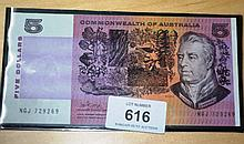Phillips/Randall $5 note, aunc