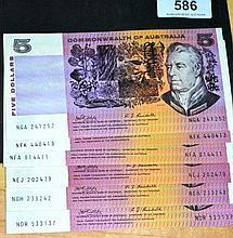 6 x Australian $5 paper notes, Phillips/Randall,