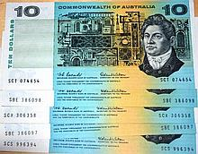 5 x Australian $10 paper notes Coombs/Wilson,